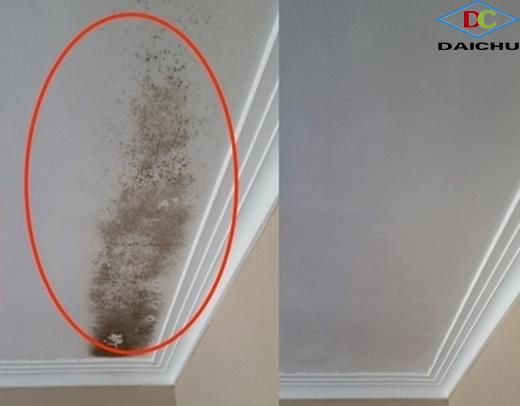 Trần nhà trước và sau khi được làm sạch
