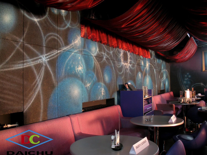 Tường quán bar sử dụng len sợi gỗ tiêu âm